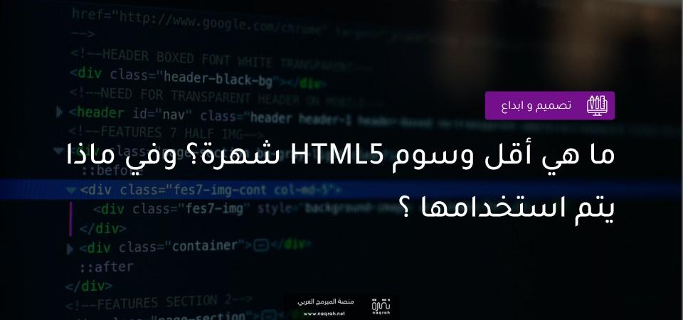 ما هي أقل وسوم HTML5 شهرة ؟ وفي ماذا يتم استخدامها ؟